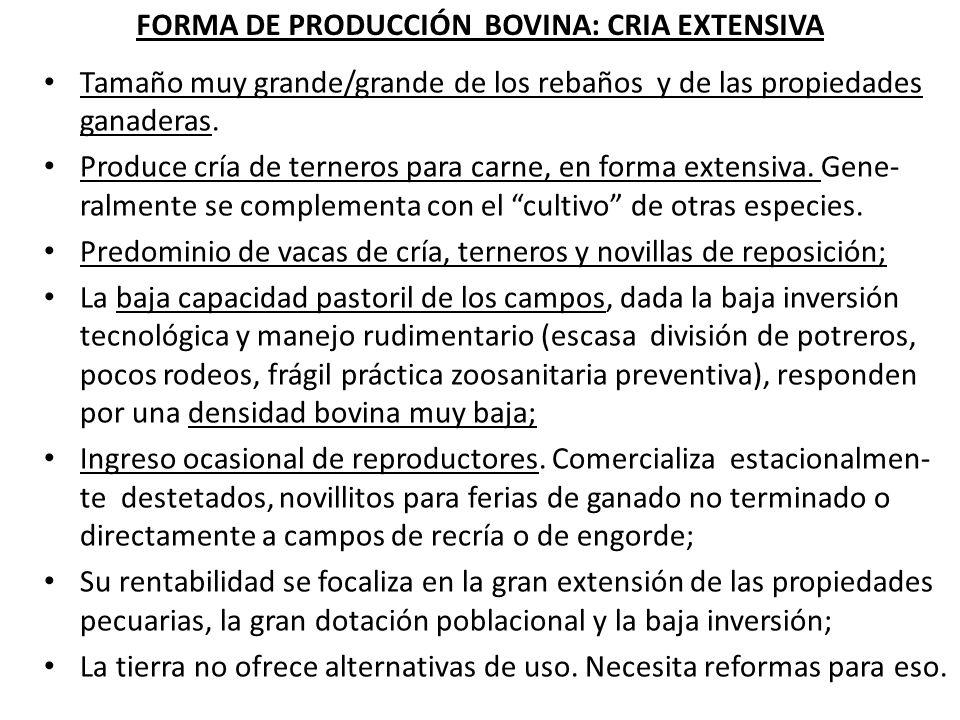 FORMA DE PRODUCCIÓN BOVINA: CICLO COMPLETO Se desarrolla en establecimientos de menor tamaño que la cría extensiva, pero de tierras de mejor calidad que las de la forma de producción anterior.