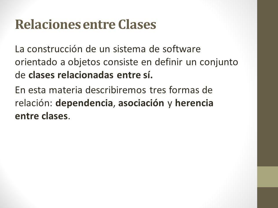 Relaciones entre Clases La construcción de un sistema de software orientado a objetos consiste en definir un conjunto de clases relacionadas entre sí.