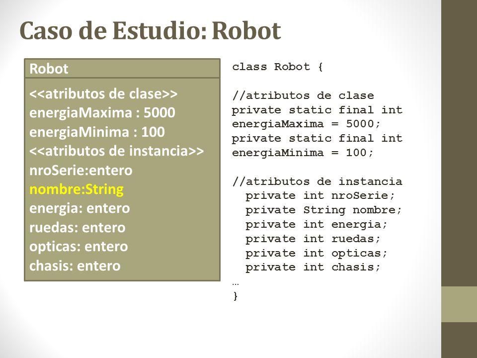 Caso de Estudio: Robot class Robot { //atributos de clase private static final int energiaMaxima = 5000; private static final int energiaMinima = 100;