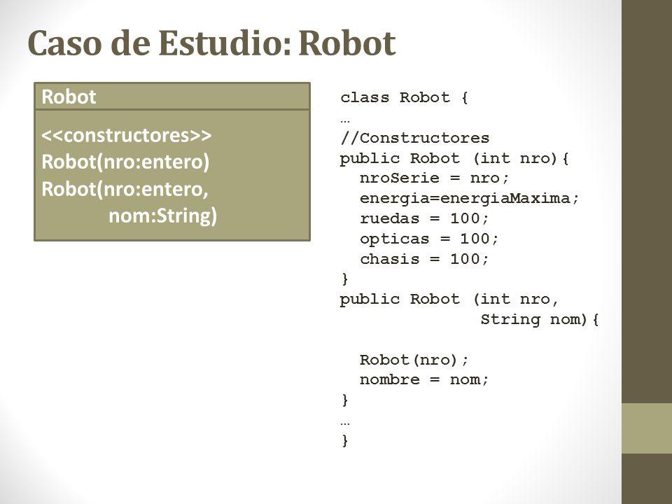 Caso de Estudio: Robot class Robot { … //Constructores public Robot (int nro){ nroSerie = nro; energia=energiaMaxima; ruedas = 100; opticas = 100; cha