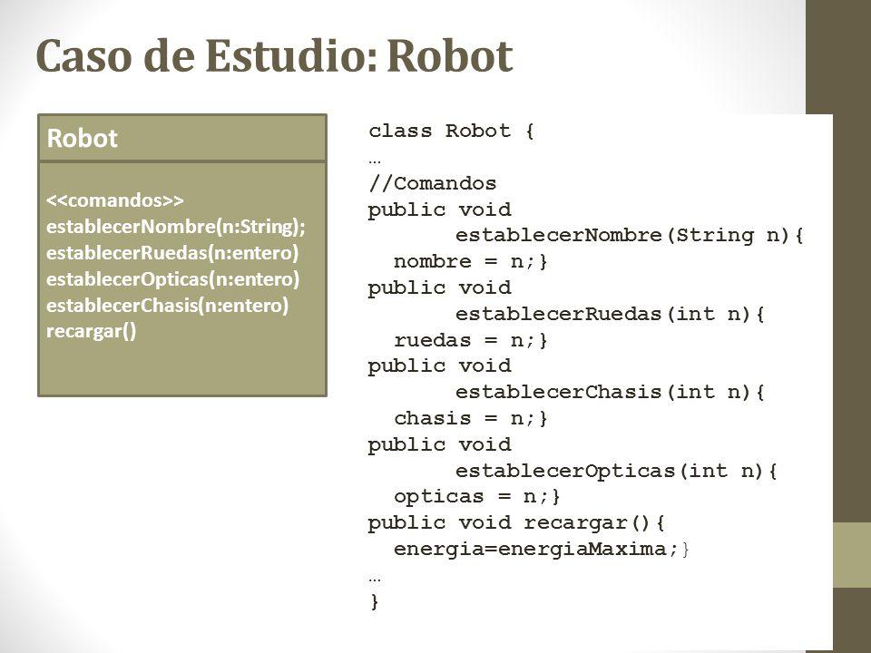 Caso de Estudio: Robot Robot > establecerNombre(n:String); establecerRuedas(n:entero) establecerOpticas(n:entero) establecerChasis(n:entero) recargar(