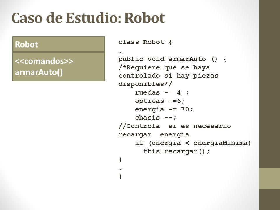 Caso de Estudio: Robot Robot > armarAuto() class Robot { … public void armarAuto () { /*Requiere que se haya controlado si hay piezas disponibles*/ ru