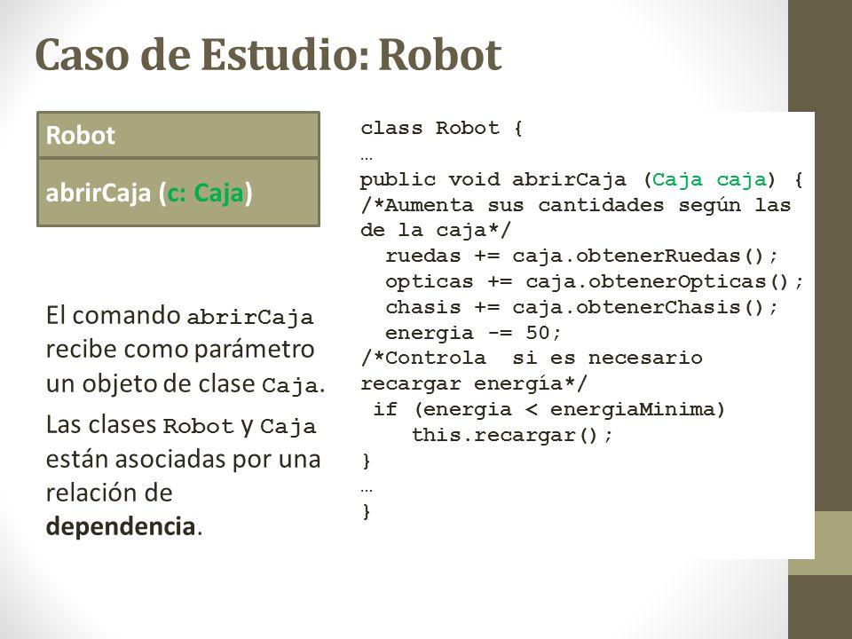 Caso de Estudio: Robot Robot abrirCaja (c: Caja) class Robot { … public void abrirCaja (Caja caja) { /*Aumenta sus cantidades según las de la caja*/ r