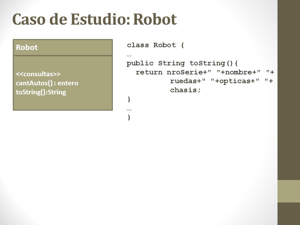 Caso de Estudio: Robot Robot > cantAutos() : entero toString():String class Robot { … public String toString(){ return nroSerie+