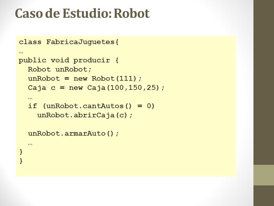 Caso de Estudio: Robot class FabricaJuguetes{ … public void producir { Robot unRobot; unRobot = new Robot(111); Caja c = new Caja(100,150,25); … if (u