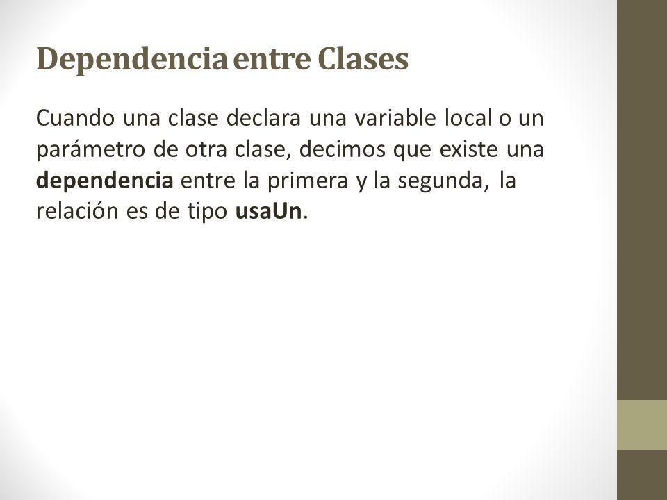 Dependencia entre Clases Cuando una clase declara una variable local o un parámetro de otra clase, decimos que existe una dependencia entre la primera