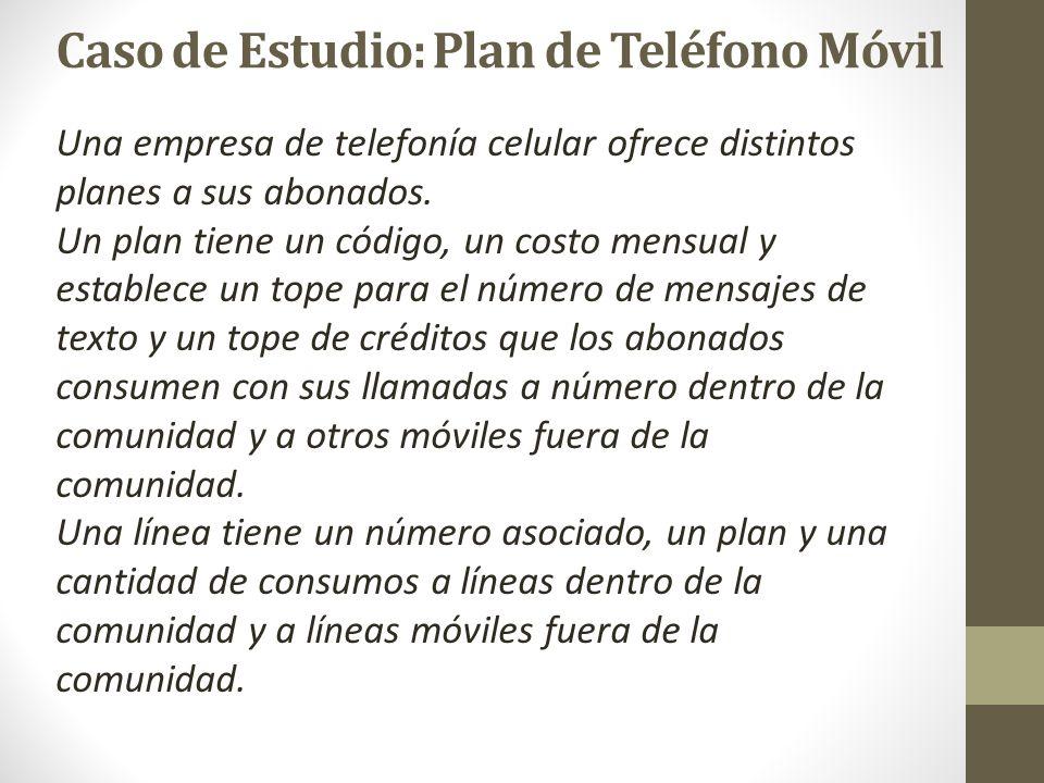 Caso de Estudio: Plan de Teléfono Móvil Una empresa de telefonía celular ofrece distintos planes a sus abonados. Un plan tiene un código, un costo men