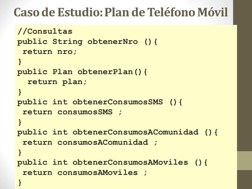 //Consultas public String obtenerNro (){ return nro; } public Plan obtenerPlan(){ return plan; } public int obtenerConsumosSMS (){ return consumosSMS
