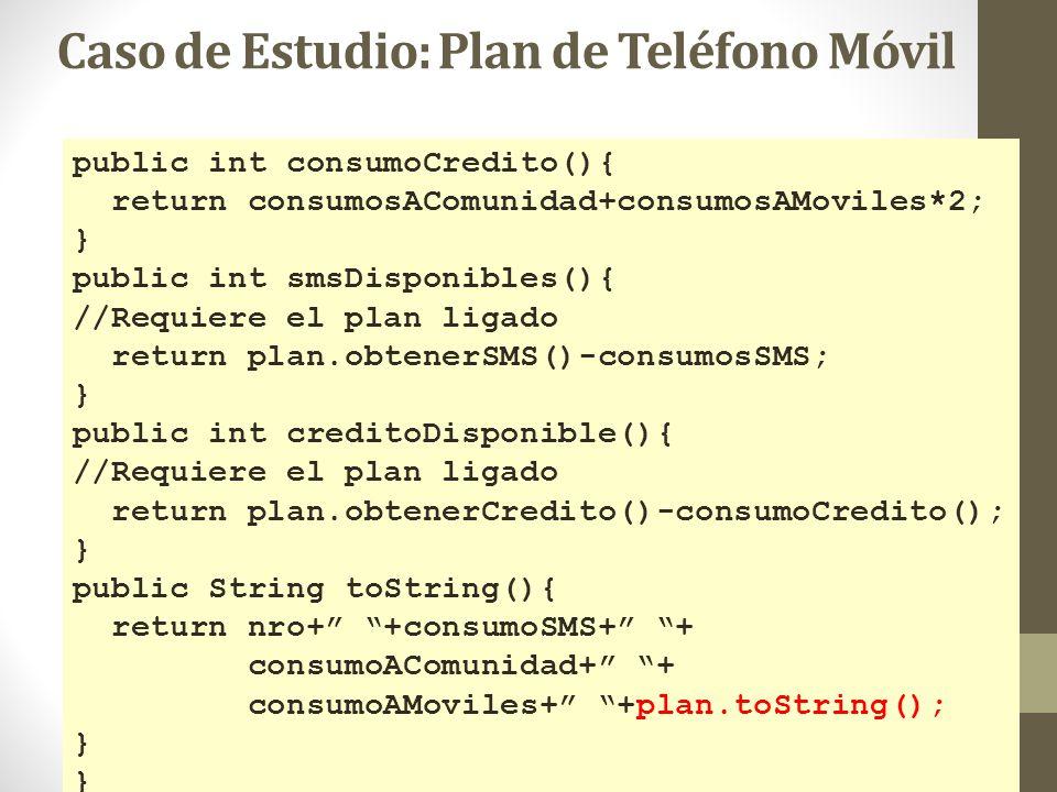 public int consumoCredito(){ return consumosAComunidad+consumosAMoviles*2; } public int smsDisponibles(){ //Requiere el plan ligado return plan.obtene