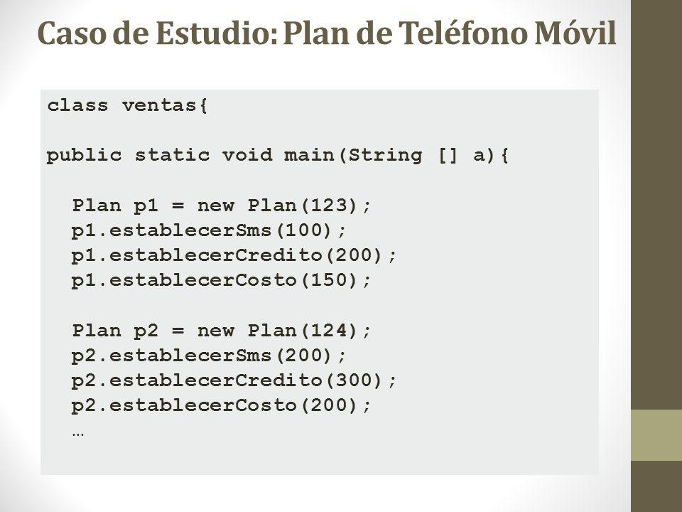 class ventas{ public static void main(String [] a){ Plan p1 = new Plan(123); p1.establecerSms(100); p1.establecerCredito(200); p1.establecerCosto(150)