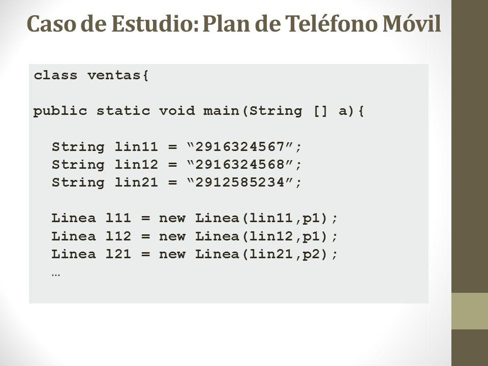 class ventas{ public static void main(String [] a){ String lin11 = 2916324567; String lin12 = 2916324568; String lin21 = 2912585234; Linea l11 = new L