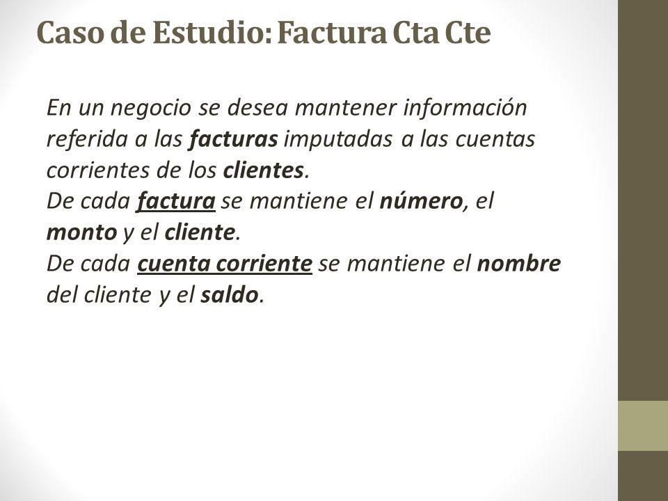 En un negocio se desea mantener información referida a las facturas imputadas a las cuentas corrientes de los clientes. De cada factura se mantiene el