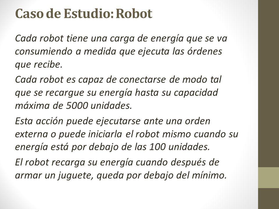 Caso de Estudio: Robot Robot abrirCaja (c: Caja) class Robot { … public void abrirCaja (Caja caja) { /*Aumenta sus cantidades según las de la caja*/ ruedas += caja.obtenerRuedas(); opticas += caja.obtenerOpticas(); chasis += caja.obtenerChasis(); energia -= 50; /*Controla si es necesario recargar energía*/ if (energia < energiaMinima) this.recargar(); } … } El comando abrirCaja recibe como parámetro un objeto de clase Caja.