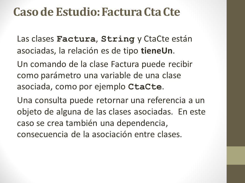Las clases Factura, String y CtaCte están asociadas, la relación es de tipo tieneUn. Un comando de la clase Factura puede recibir como parámetro una v