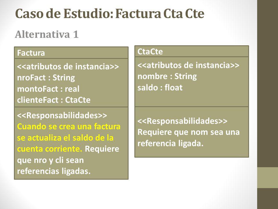 Factura > nroFact : String montoFact : real clienteFact : CtaCte CtaCte > nombre : String saldo : float Caso de Estudio: Factura Cta Cte > Cuando se c
