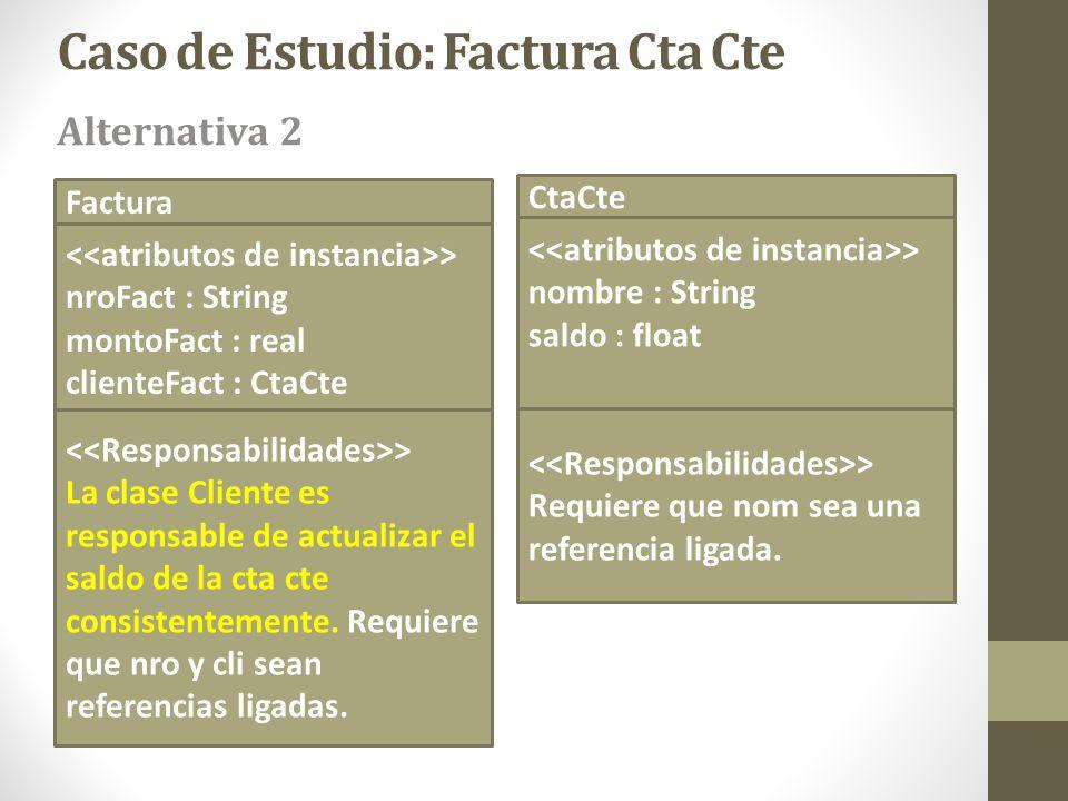 Factura > nroFact : String montoFact : real clienteFact : CtaCte CtaCte > nombre : String saldo : float Caso de Estudio: Factura Cta Cte > La clase Cl