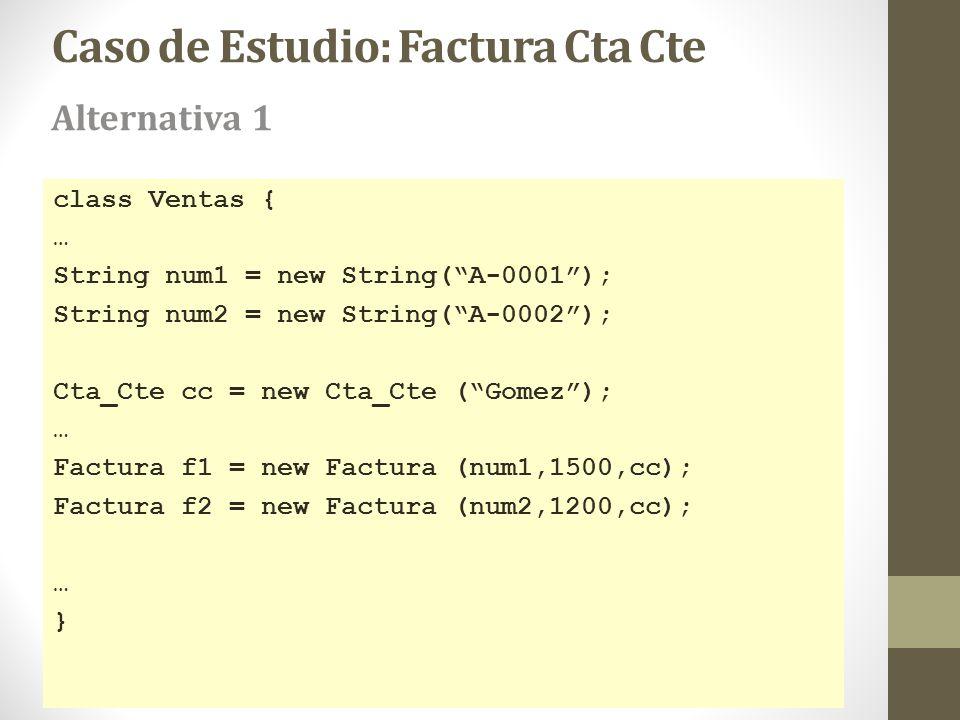 Caso de Estudio: Factura Cta Cte class Ventas { … String num1 = new String(A-0001); String num2 = new String(A-0002); Cta_Cte cc = new Cta_Cte (Gomez)