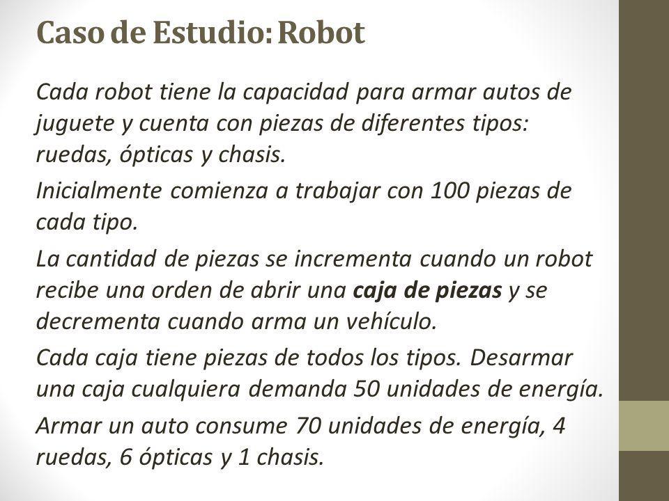 Caso de Estudio: Robot Robot > energiaMaxima : 5000 energiaMinima : 100 > nroSerie:entero nombre:String energia: entero ruedas: entero opticas: entero chasis: entero Caja > ruedas: entero opticas: entero chasis: entero Las clases Robot y String están asociadas.