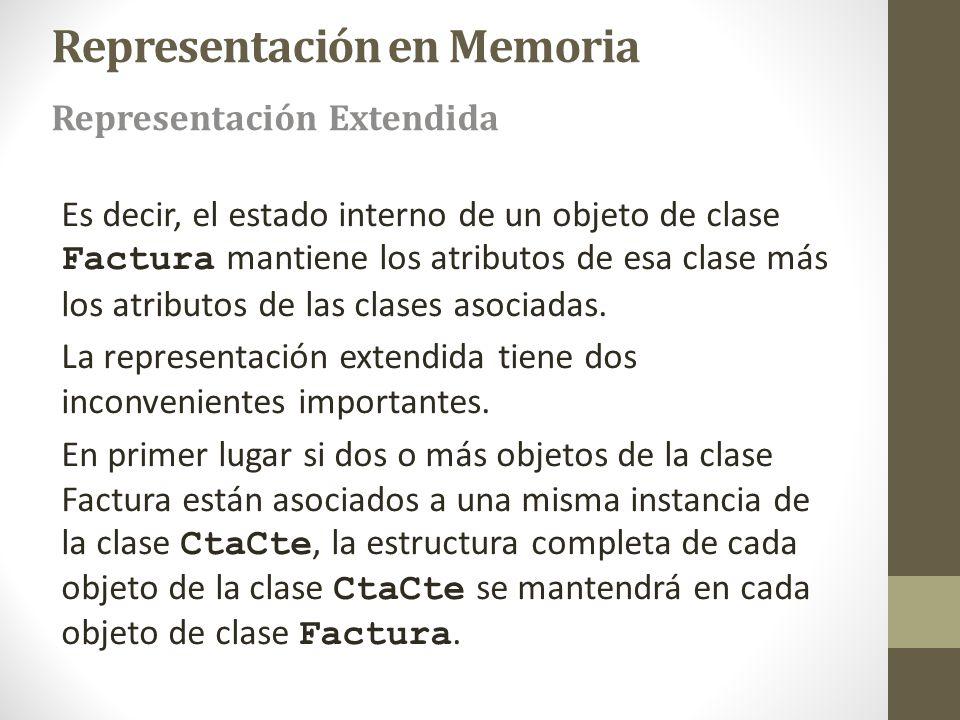 Es decir, el estado interno de un objeto de clase Factura mantiene los atributos de esa clase más los atributos de las clases asociadas. La representa