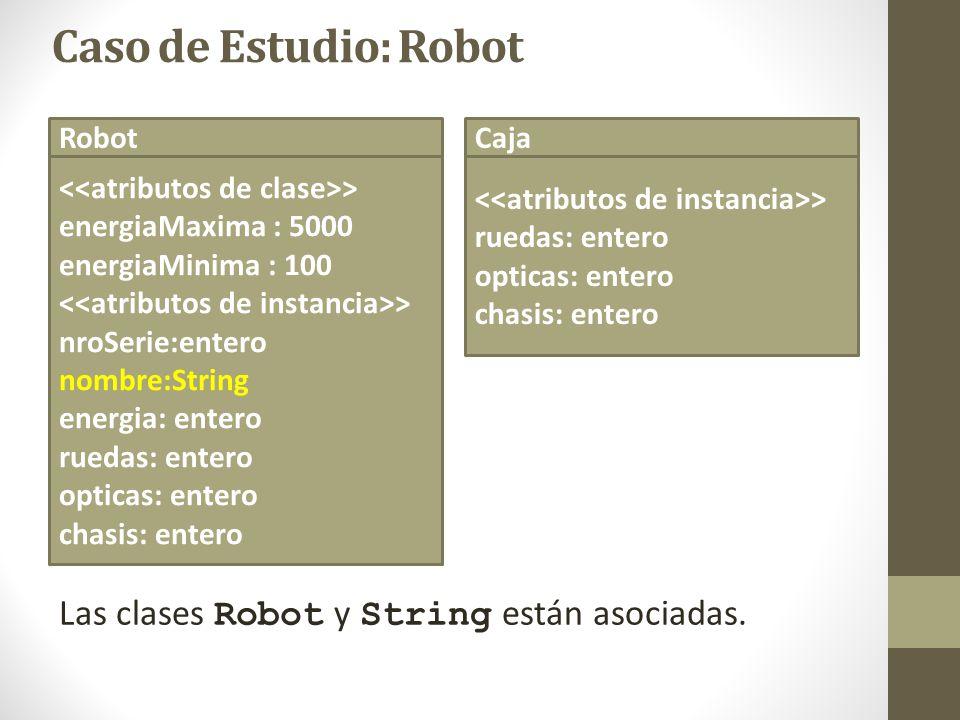 Caso de Estudio: Robot Robot > Robot(nro:entero) Robot(nro:entero,nom:String) > establecerNombre(n:String) establecerRuedas(n:entero) establecerOpticas(n:entero) establecerChasis(n:entero) abrirCaja (c: Caja) recargar() armarAuto() Caja > Caja (r,o,ch : entero) > establecerRuedas(n:entero) establecerOpticas(n:entero) establecerChasis(n:entero) Existe una relación de dependencia entre las clases Robot y Caja.