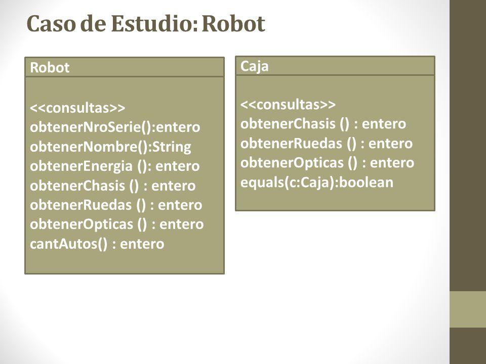 Caso de Estudio: Robot Robot > obtenerNroSerie():entero obtenerNombre():String obtenerEnergia (): entero obtenerChasis () : entero obtenerRuedas () :