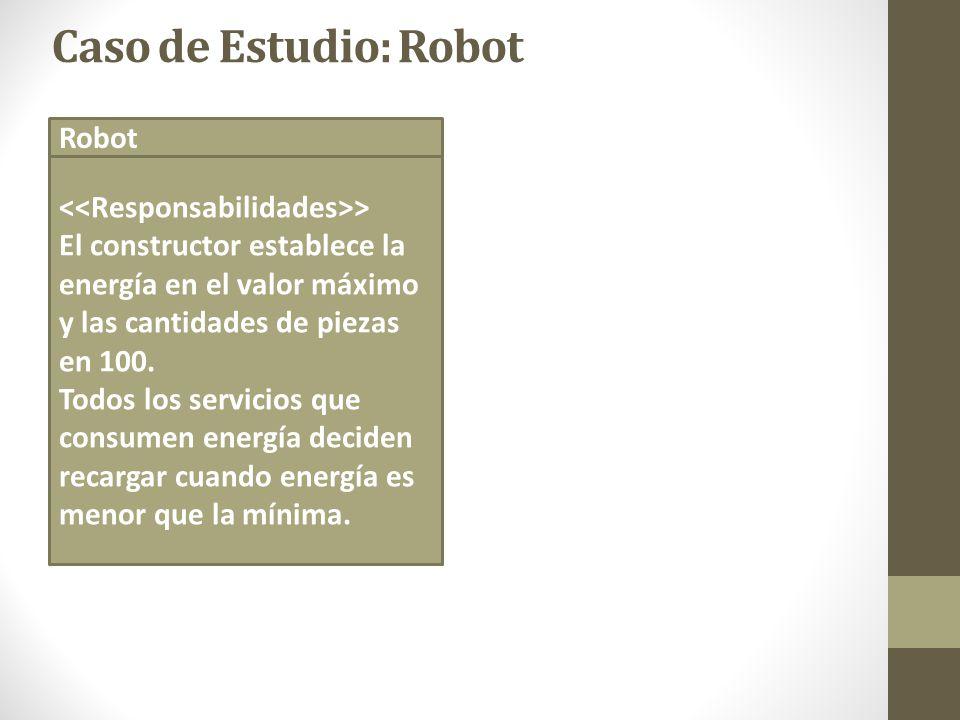Caso de Estudio: Robot Robot > El constructor establece la energía en el valor máximo y las cantidades de piezas en 100. Todos los servicios que consu