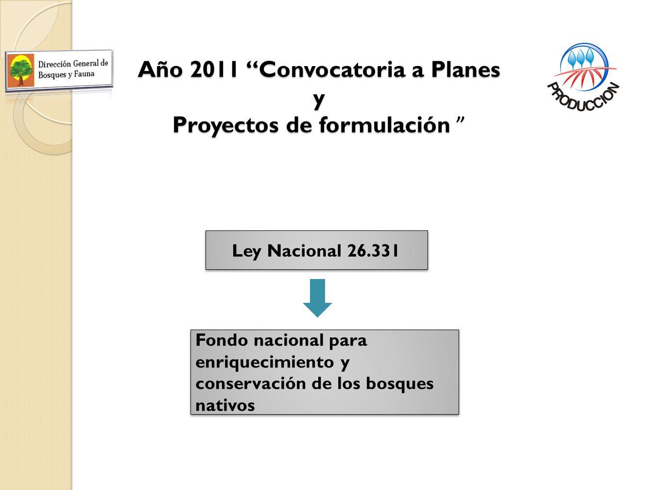 Año 2011 Convocatoria a Planes y Proyectos de formulación Año 2011 Convocatoria a Planes y Proyectos de formulación Ley Nacional 26.331 Fondo nacional para enriquecimiento y conservación de los bosques nativos
