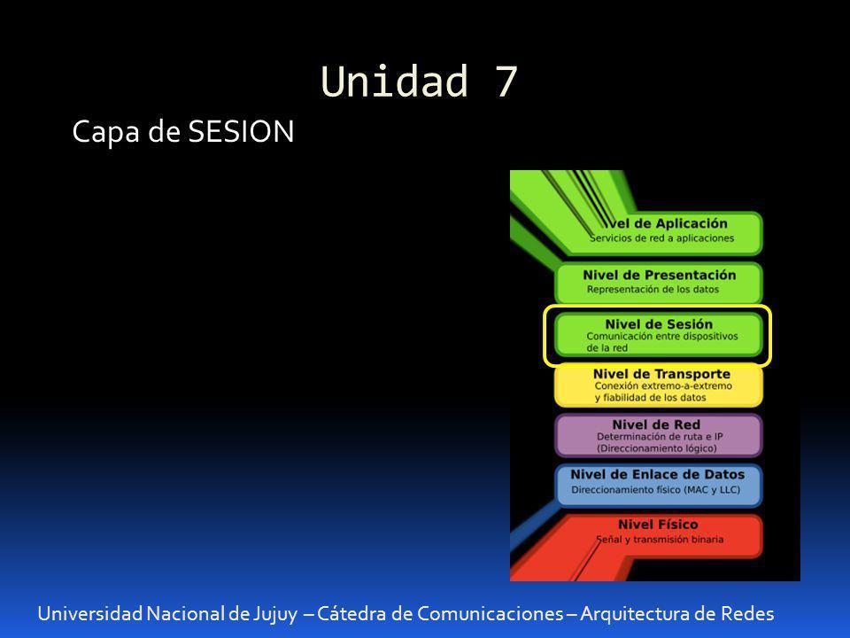 Unidad 7 Universidad Nacional de Jujuy – Cátedra de Comunicaciones – Arquitectura de Redes Capa de SESION