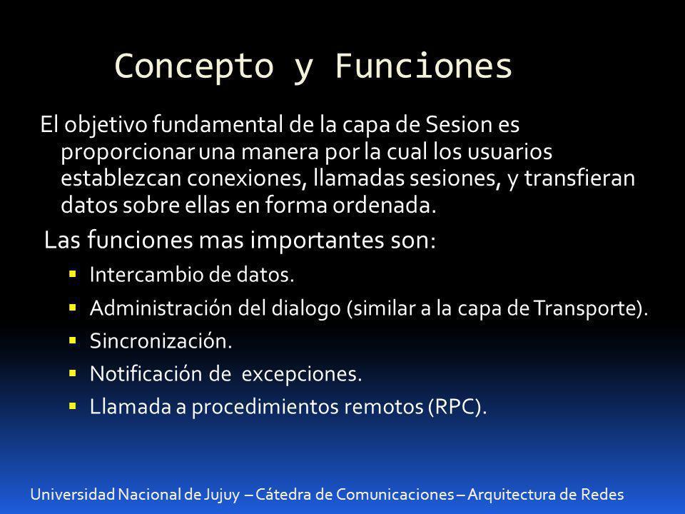 Universidad Nacional de Jujuy – Cátedra de Comunicaciones – Arquitectura de Redes Servicios proporcionados a las capas superiores Una sesión es similar a una conexión de Transporte.