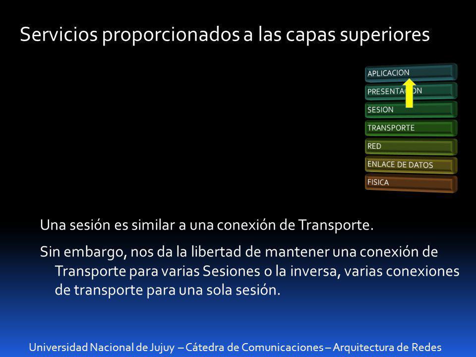 Universidad Nacional de Jujuy – Cátedra de Comunicaciones – Arquitectura de Redes Intercambio de Datos Al igual que una conexión de transporte, el intercambio de datos de una sesión sigue el proceso de tres partes : El establecimiento La utilización La liberación.