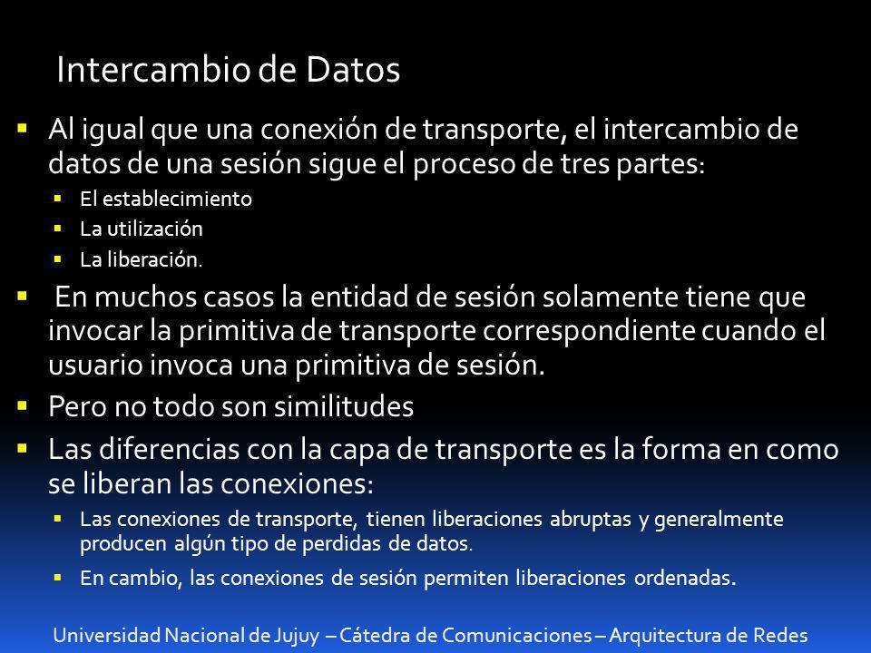 Universidad Nacional de Jujuy – Cátedra de Comunicaciones – Arquitectura de Redes Intercambio de Datos Al igual que una conexión de transporte, el int