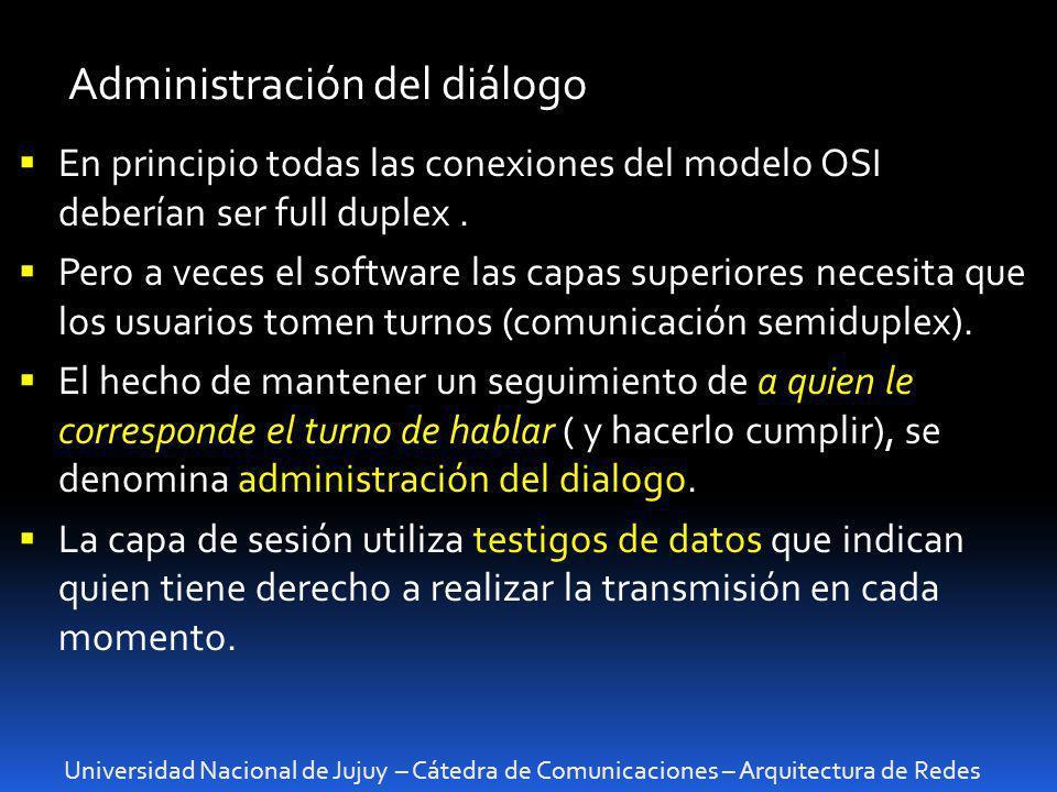 Universidad Nacional de Jujuy – Cátedra de Comunicaciones – Arquitectura de Redes Administración del diálogo En principio todas las conexiones del mod