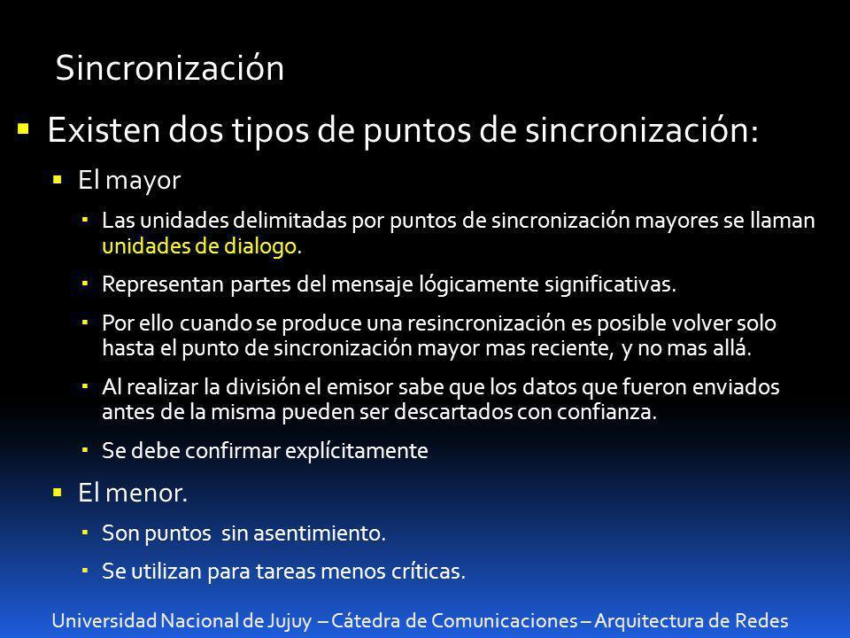 Universidad Nacional de Jujuy – Cátedra de Comunicaciones – Arquitectura de Redes Sincronización Existen dos tipos de puntos de sincronización: El may