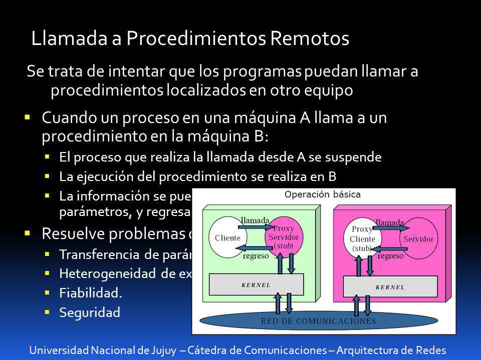 Universidad Nacional de Jujuy – Cátedra de Comunicaciones – Arquitectura de Redes Llamada a Procedimientos Remotos Se trata de intentar que los progra