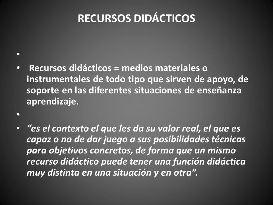 RECURSOS DIDÁCTICOS Recursos didácticos = medios materiales o instrumentales de todo tipo que sirven de apoyo, de soporte en las diferentes situacione
