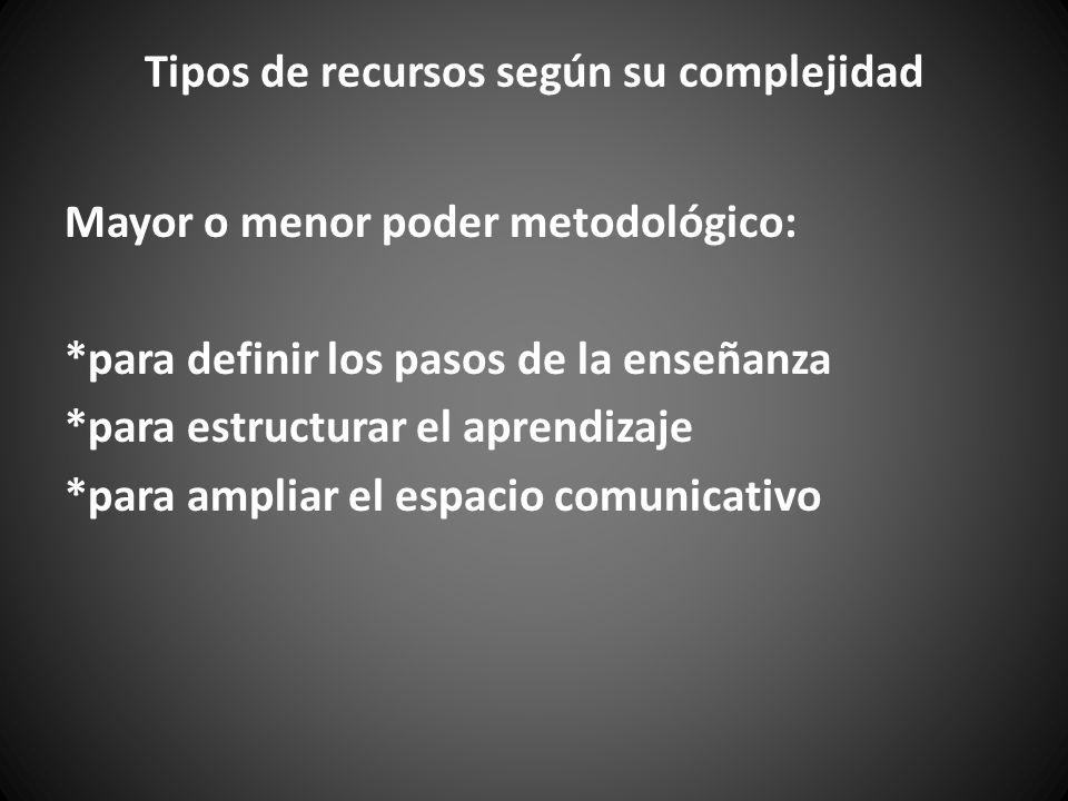 Tipos de recursos según su complejidad Mayor o menor poder metodológico: *para definir los pasos de la enseñanza *para estructurar el aprendizaje *para ampliar el espacio comunicativo