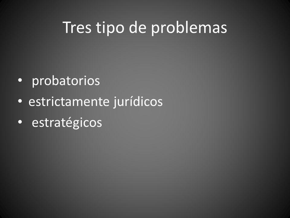 Tres tipo de problemas probatorios estrictamente jurídicos estratégicos