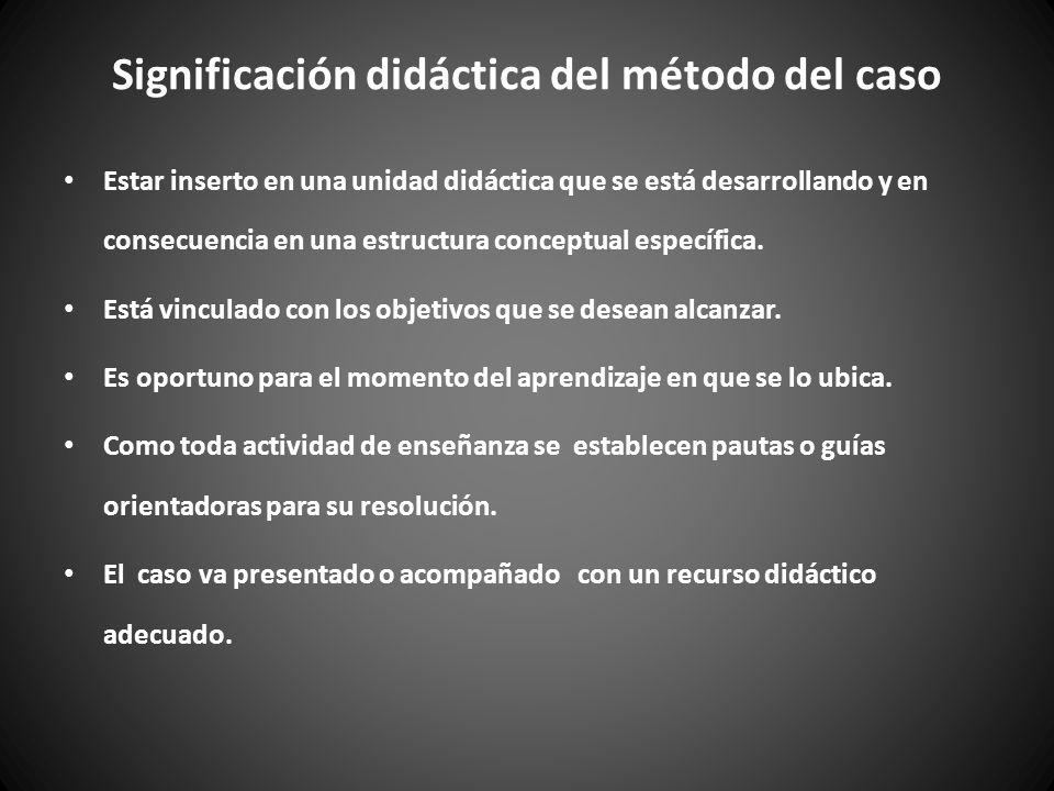 Significación didáctica del método del caso Estar inserto en una unidad didáctica que se está desarrollando y en consecuencia en una estructura conceptual específica.