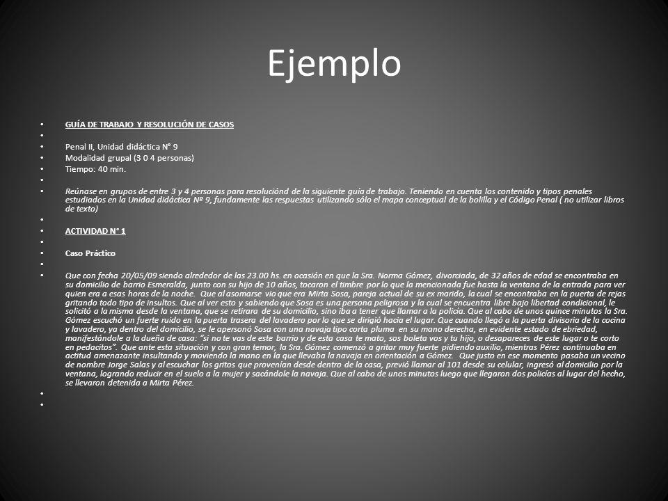 Ejemplo GUÍA DE TRABAJO Y RESOLUCIÓN DE CASOS Penal II, Unidad didáctica N° 9 Modalidad grupal (3 0 4 personas) Tiempo: 40 min.