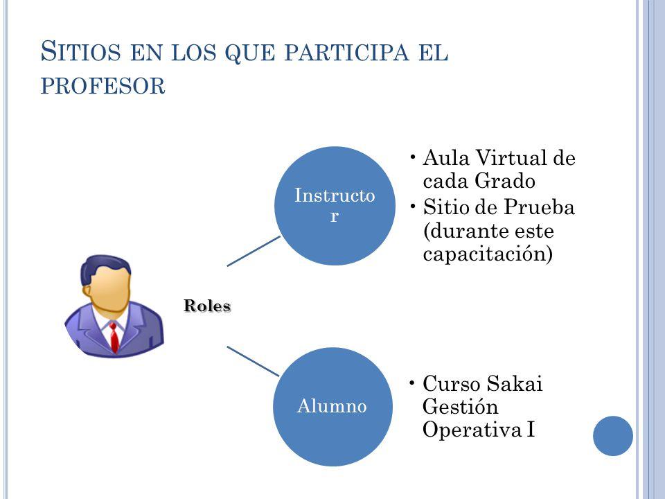 S ITIOS EN LOS QUE PARTICIPA EL PROFESOR Instructo r Aula Virtual de cada Grado Sitio de Prueba (durante este capacitación) Alumno Curso Sakai Gestión Operativa IRoles