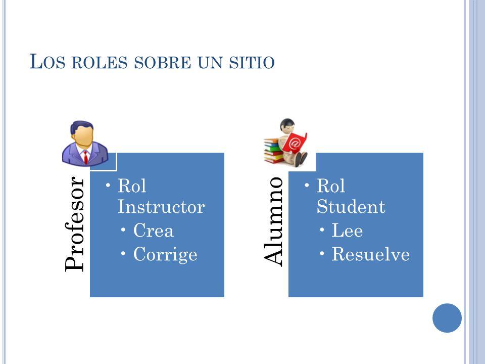 L OS ROLES SOBRE UN SITIO Profesor Rol Instructor Crea Corrige Alumno Rol Student Lee Resuelve