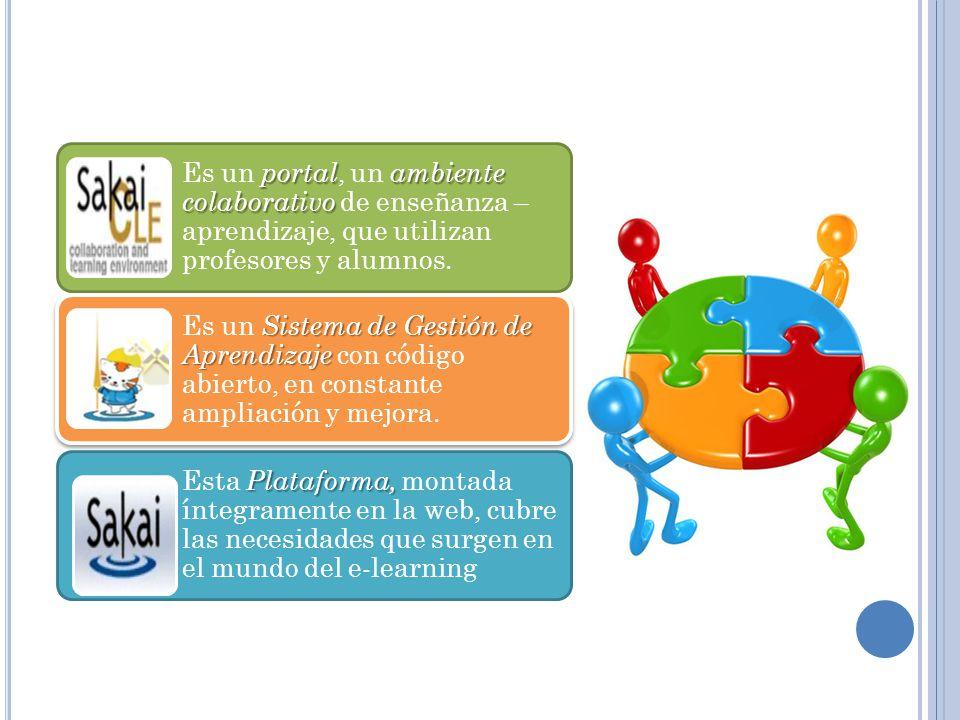 portalambiente colaborativo Es un portal, un ambiente colaborativo de enseñanza – aprendizaje, que utilizan profesores y alumnos. Sistema de Gestión d