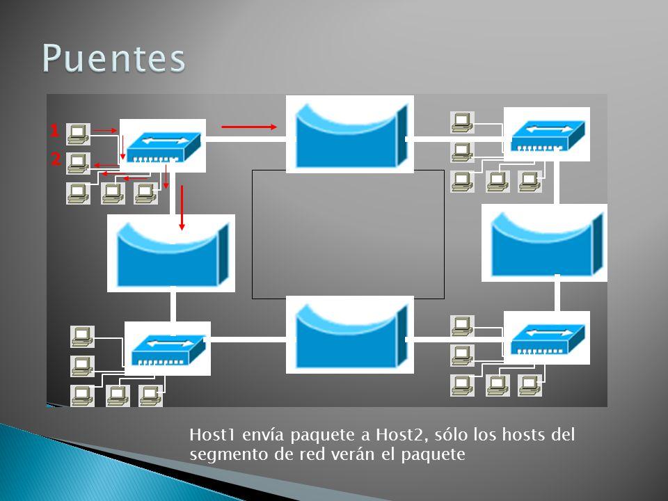 Host1 envía paquete a Host2, sólo los hosts del segmento de red verán el paquete