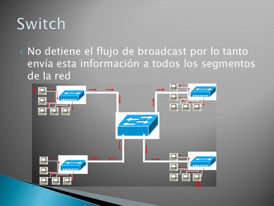 No detiene el flujo de broadcast por lo tanto envía esta información a todos los segmentos de la red