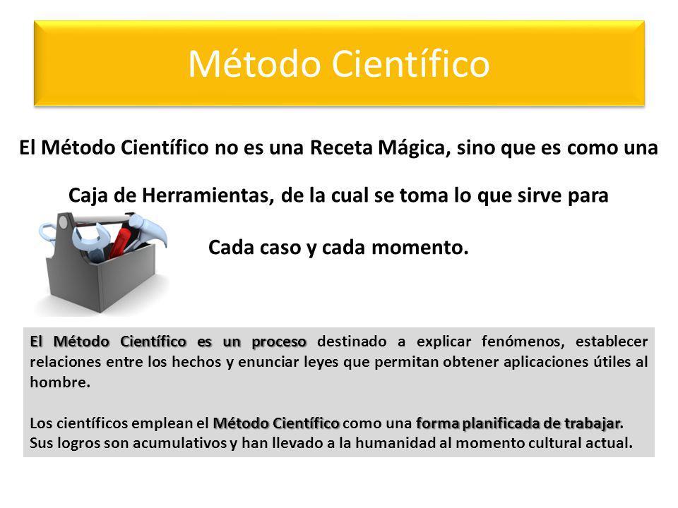 Método Científico El Método Científico no es una Receta Mágica, sino que es como una Caja de Herramientas, de la cual se toma lo que sirve para Cada c