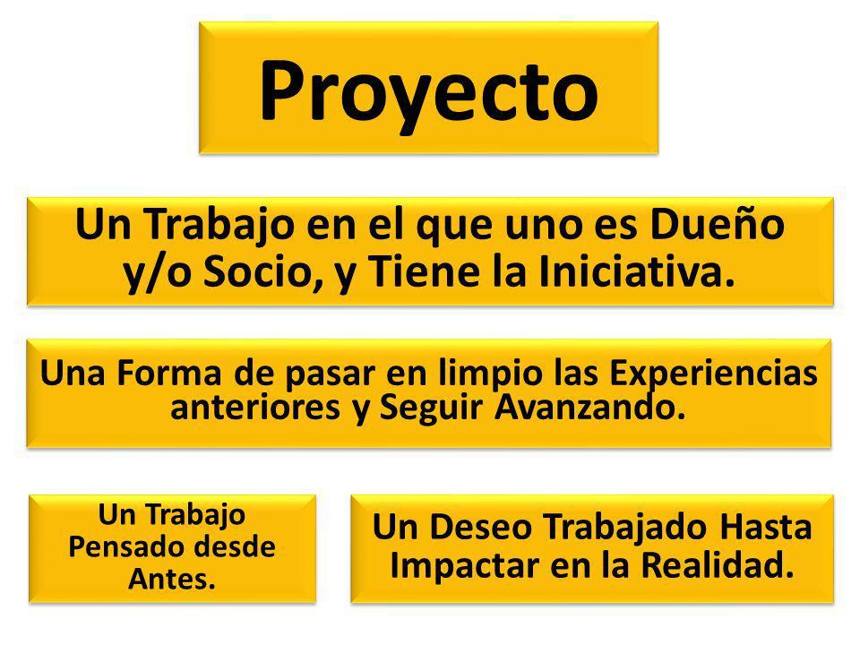 Proyecto Un Trabajo en el que uno es Dueño y/o Socio, y Tiene la Iniciativa. Una Forma de pasar en limpio las Experiencias anteriores y Seguir Avanzan
