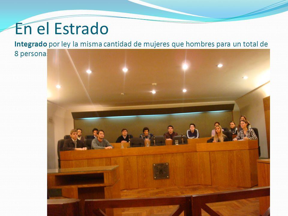 En el Estrado Integrado por ley la misma cantidad de mujeres que hombres para un total de 8 personas juradas titulares y 4 suplentes más 3 jueces técnicos.