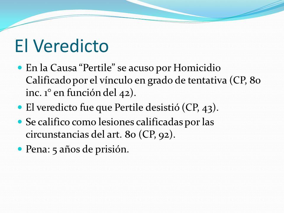 El Veredicto En la Causa Pertile se acuso por Homicidio Calificado por el vínculo en grado de tentativa (CP, 80 inc. 1° en función del 42). El veredic