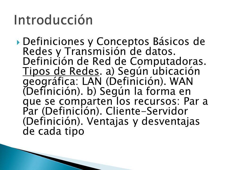 Definiciones y Conceptos Básicos de Redes y Transmisión de datos. Definición de Red de Computadoras. Tipos de Redes. a) Según ubicación geográfica: LA