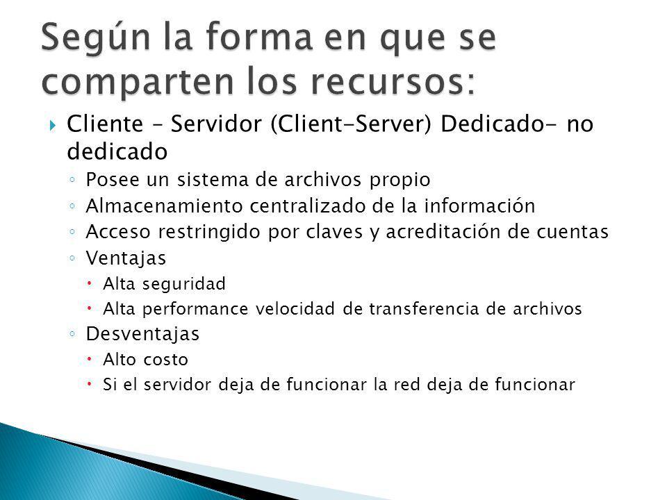 Cliente – Servidor (Client-Server) Dedicado- no dedicado Posee un sistema de archivos propio Almacenamiento centralizado de la información Acceso rest